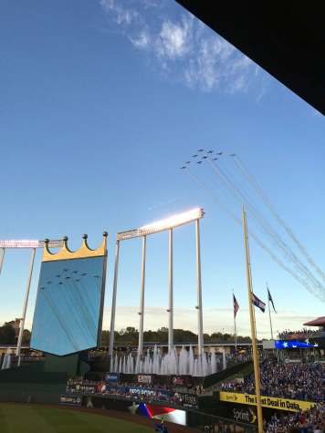 "- Before the royals game on October 5 in the ALDS, the national anthem plays as a set of 10 planes flew over Kauffman stadium. ""It was unexpected and very cool,"" said junior Stefani Conway."