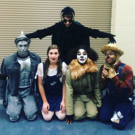 (From left to right) Sophomore Caleb Geniuk, sophomore Ava Delsimme, senior Mycah Williams, junior Timothy Lawson  (Back) Junior Jacob Cooley