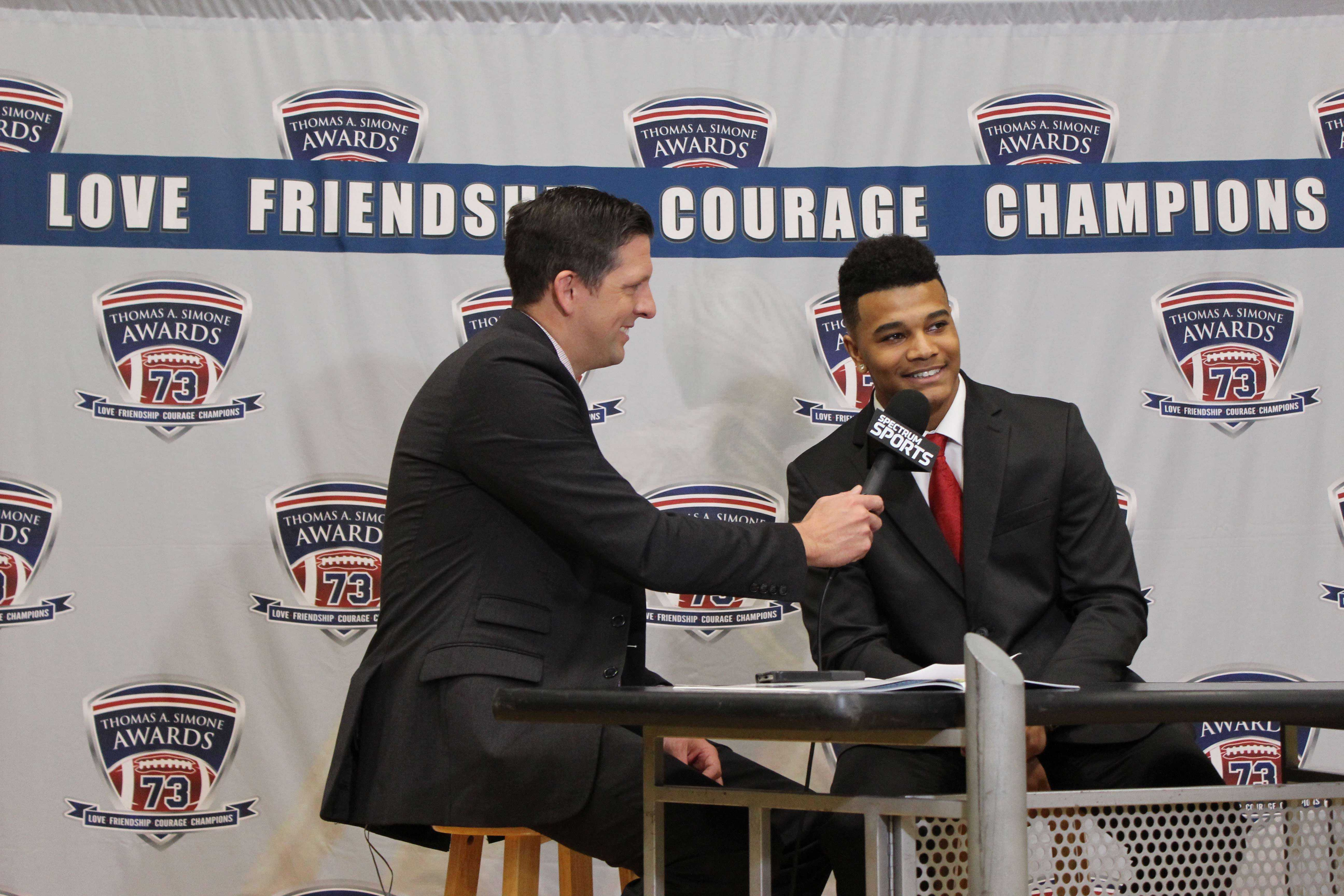 Senior Julian Ross was interviewed after being awarded the Thomas A. Simone award in the falcon fieldhouse on Dec. 6 2016.  This is considered the Heisman Award of high school football and Ross was the first football player from Staley to win this award.
