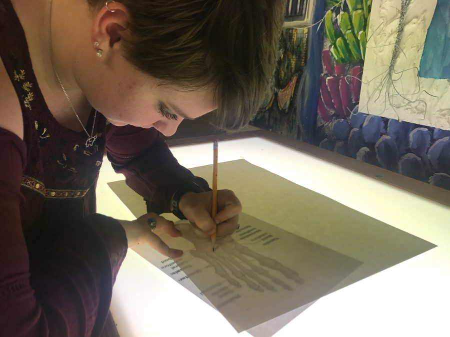 Using+the+light+board+in+AP+Studio+art%2C+senior+Maddie+Mummert+is+working+on+one+of+her+concentrations+for+her+portfolio+on+Feb.+21.+The+students+in+AP+Studio+Art+have+20+more+blocks+before+submitting+all+projects.+%E2%80%9CMy+favorite+thing+about+art+is+being+able+to+come+into+a+classroom+and+leave+all+worries+at+the+door+and+let+yourself+go+in+the+work+you%E2%80%99re+doing%2C%E2%80%9D+said+Mummert.+%0A
