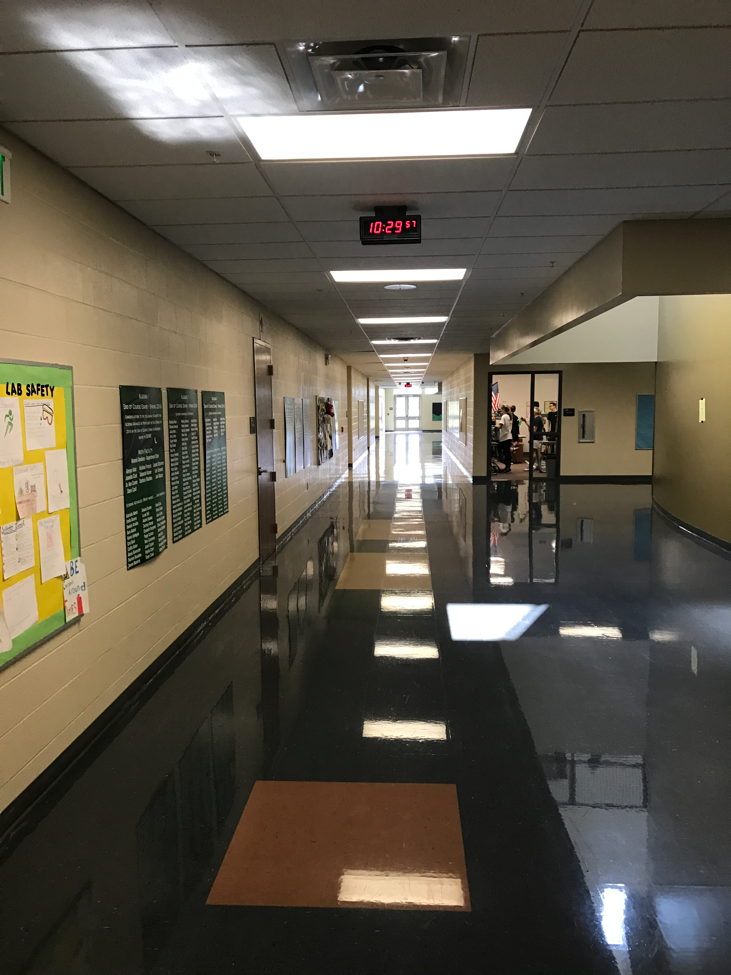 Hallways are empty because of the no travel policy during falcon time.
