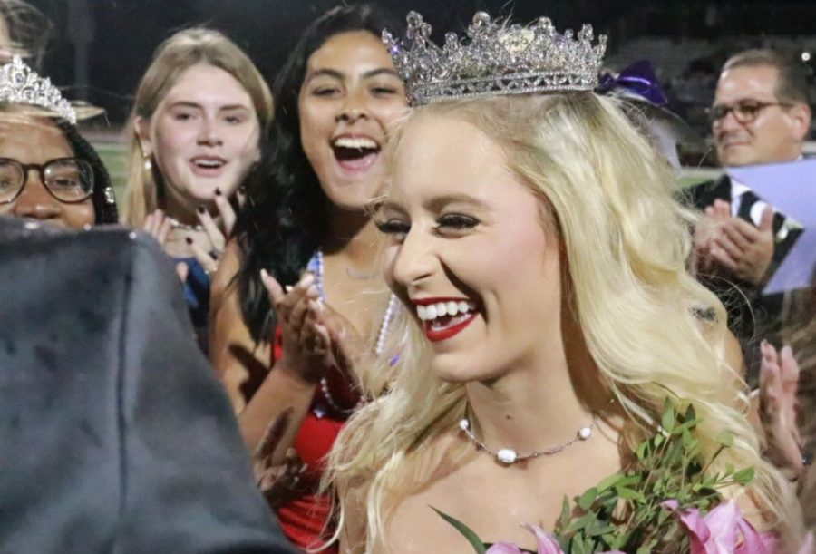At halftime of the Homecoming football game Sept. 24, senior Sofia Cascone is crowned homecoming queen.