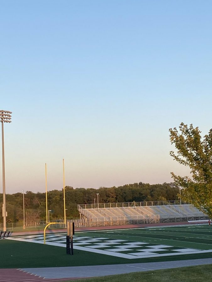 The empty football field at the District Activities Center on the evening of Sept. 16.